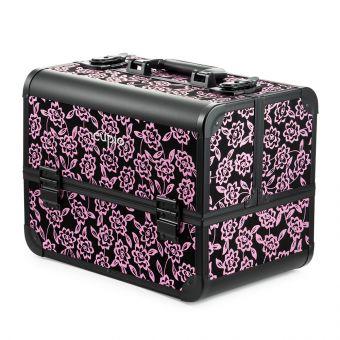 Geanta cosmetica cu flori - Roz