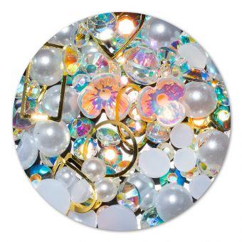 Ornament cristale, perlute si floare #11
