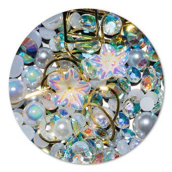 Ornament cristale, perlute si floare #7