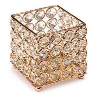 Suport pensule cu cristale rotunde Fashion Gold