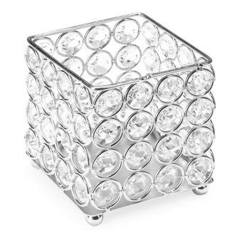 Suport pensule cu cristale rotunde Fashion Silver