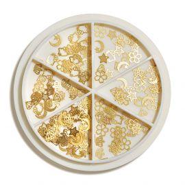Carusel ornamente metalice Gold Flowers
