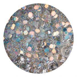 Decor unghii caviar, cristale clear si translucide #2