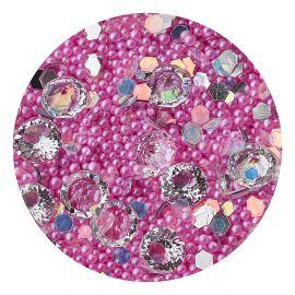 Decor unghii caviar, cristale clear si translucide #3