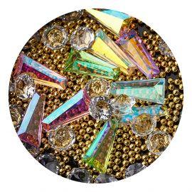 Decor unghii mix caviar si cristale #2