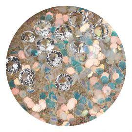 Decor unghii caviar, cristale clear si translucide #4