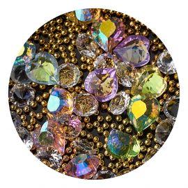 Decor unghii mix caviar si cristale #4