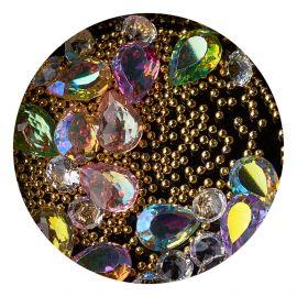 Decor unghii mix caviar si cristale #5