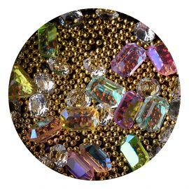 Decor unghii mix caviar si cristale #6