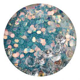 Decor unghii caviar, cristale clear si translucide #6