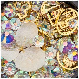 Ornamente mix cristale, perlute si floare alba