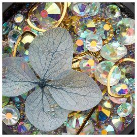 Ornamente mix cristale, perlute si floare gri