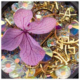 Ornamente mix cristale, perlute si floare mov
