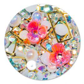 Ornament cristale, perlute si floare #10