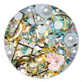 Ornament cristale, perlute si floare #2