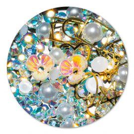 Ornament cristale, perlute si floare #8