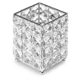 Suport pensule cu cristale patrate - Fashion Silver